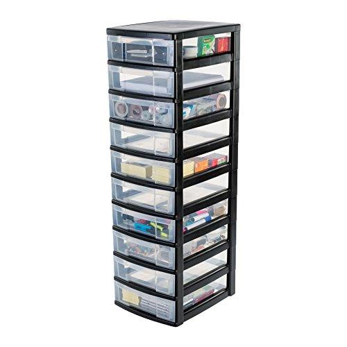 IRIS, Schubladenschrank / Schubladenbox / Rollwagen / Rollcontainer / Werkzeugschrank 'New Chest', NMC-010, mit Rollen, Kunststoff, schwarz / transparent