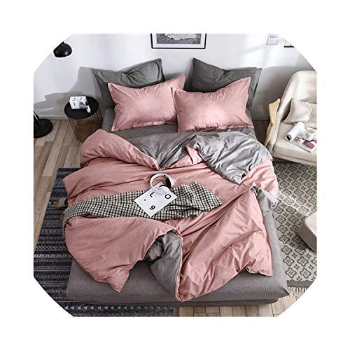 3 / Bettwäsche 4pcs set Neuer Geometric Bettbezug Flachblatt schwarzen Bettwäsche-Set Blatt Bett gesetzt AB Seite Hauptdekor grau Bettwäsche, rosa grau, 3pcs für Doppel, Flachbettlaken gesetzt -