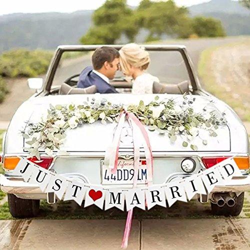 anner-Set Just Married - Hochzeitsdekorationen für Empfang, Brautparty und Verlobungsfoto-Requisite, Auto-Dekorationen ()
