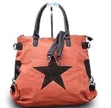 Shopper Damen Handtasche mit Stern Canvas Tasche mit Stern Blogger mit Stern Schultertasche Canvas Vintage, Farbe:Orange