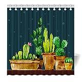 YISUMEI Hem Gewichte Vorhang Duschvorhang 180x200 cm Kaktus Kunst Bonsa