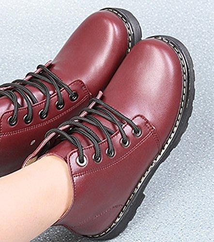 Aisun Vineux Bout Low à Boots Rond Lactes Rouge Chunky Femme Bottes Motards rtPwq6r