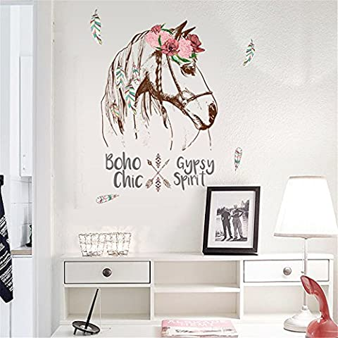 Creativee Horse Flowers Wall Stickers Wallpapers for Bedroom Home Decoration Art Decal Mural (Horse flowers)