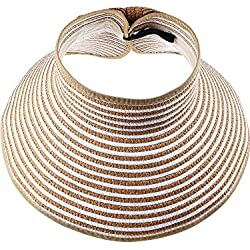 Visera de Sol Pamelas Enrollables Sombrero de Visera Ancha de Mujeres Sombrero de Copa Abierta Gorro de Sol con Visera Ancha Plegable (Color Natural con Rayas Blancas)