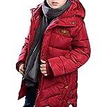 MILEEO Jungen Mantel Jacket Parka Kinder Jungen Mantel Winter Baumwolle Kindermantel Langarm Outwear Wintermantel mit Kapuze Winterjacke Steppjcake Coat, EU 158-164/Asia 170, Rot