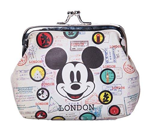 Geldtäschchen Mickey Mouse Motiv London Vintage beige-bunt Portemonnaie Geldbeutel DBE806A (Souvenir Disney)
