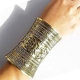Bracelet pour femme manchette large couleur or bronze antique