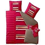 Bettwäsche 200x220 Baumwolle, Trend Helina uni Streifen rot grau beige Wendedesign aqua-textil 0011753