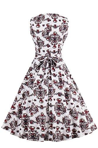 50s Vintage Rockabilly Kleid Festliche Kleid Partykleid Sommerkleid Gr.S~4XL MisShow Farbe3
