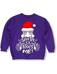 Stunning 'Santa Loves Me!' children style sweatshirt -ideal Christmas gift present -Various sizes & colours
