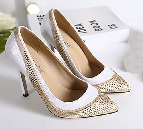 Aisun Femme Elégant Chaussures de Mariée Strass Multicolore Escarpins Blanc