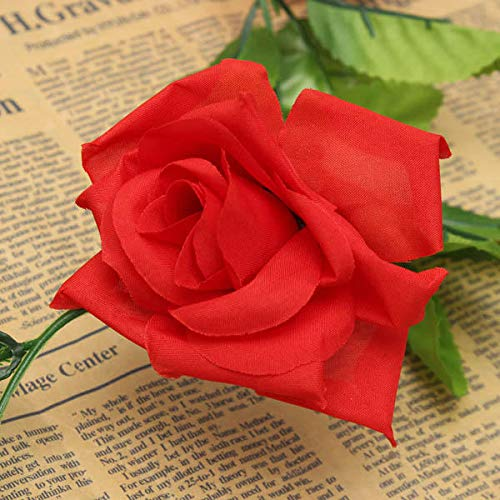Anddod 2.4m Artificial Plastic Rose Flower Green Leaves Garland Home Garden Wedding Party Decorations - Red - Garland Flower Red