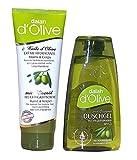 dalan d' Olive - 2 tlg. Pflegeset, bestehend aus: Duschgel 250 ml mit Olivenöl pH 5.5 + Feuchtigkeitscreme Hand & Körper mit Olivenöl 250 ml