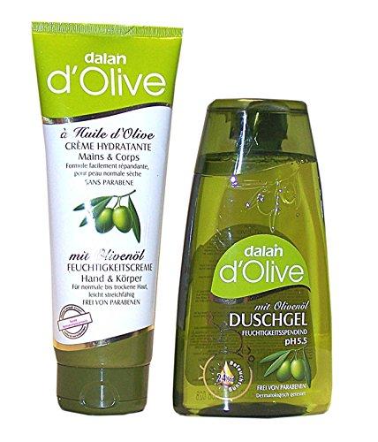 dalan-d-olive-2-tlg-pflegeset-bestehend-aus-duschgel-250-ml-mit-olivenol-ph-55-feuchtigkeitscreme-ha