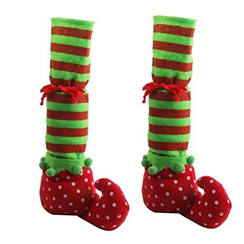 Pixnor 1 par de Navidad pierna Elf cubre silla cubierta piso protectores Navidad decoración de la mesa