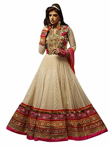 FenaPrime Women\'s Multicolor Georgette Anarkali Unstitched Dress Material FP0019