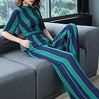 WJP La cintura alta del verano de las mujeres siamesas era delgada pantalones de pierna ancha de manga corta de una sola pieza de traje de cuerpo femenino,Franja azul ver,S