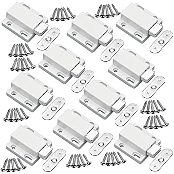 LOOTICH Push to Open Mini Latch with Automatic Spring Flap Touch Catch for Kitchen Cabinet Cupboard Wardrobe Door Pack of 15