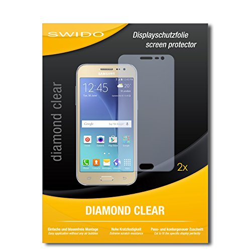 SWIDO 2 x Bildschirmschutzfolie Samsung Galaxy J2 Schutzfolie Folie DiamondClear unsichtbar