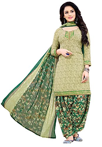 Salwar Studio Women's Green & Mehendi Synthetic Printed Unstitched Patiyala suit with...