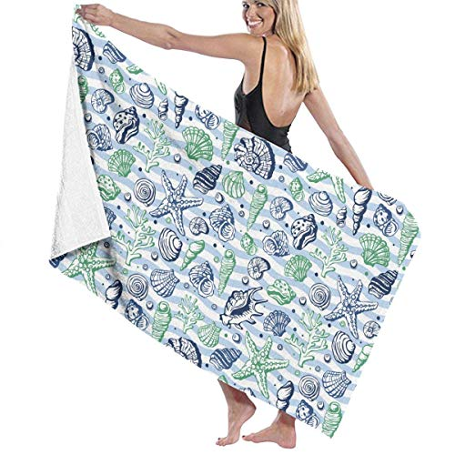 Serviette de bain, Sea Life Marine Shells Coral and Underwater Stars Personalized Custom Women Men Quick Dry Lightweight Beach & Bath Blanket Great for Beach Trips, Pool, Swimming and Camping 31