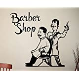CVANU Barber Shop Wall Sticker Hairdressing Salon Vinyl Decal Barber's Wall Decoration Wall Vinyl Art Vinyl Murals Waterproof Stickers