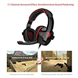 GHB Sades SA-901 7.1CH Surround Sound Stereo Headset PC Gaming Kopfhörer mit USB-Stecker und Mikrofon Rot+Schwarz - 5