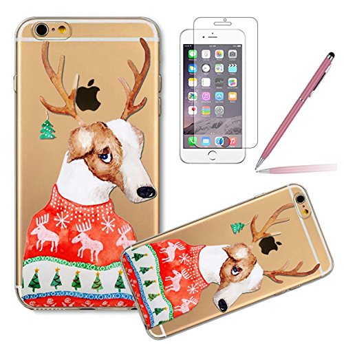iPhone 5C Hülle,iPhone 5C Case,iPhone 5C Cover - Felfy Ultradünnen Klar Delfine Pattern Handyhülle für iPhone 5C Soft Flexible Weich TPU Silikon Schutzhülle Etui Bumper Case + 1x Schutzfolie Screen +  Antlers Dog