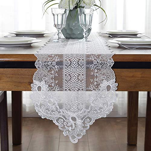 Qinqin666 Tischfahne handgemachte Baumwolle Kunst Spitze dekorative Tischdecke Tischfahne Weiß 30x120cm -