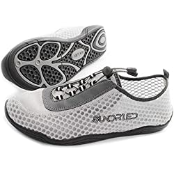 Zapatos de Gimnasia Barefoot Sundried de los Hombres por Running Saltarse Yoga Entrenadores atléticos Super Ligero (Euro 44.5, Gris)