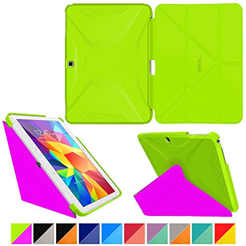 roocase-samsung-galaxy-tab-4-101-case-origami-3d-electric-green-peach-pink-slim-shell-101-inch-101-s