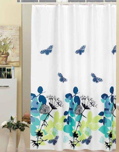 "EDLER Textil Duschvorhang 120 x 200 cm Elegante Natur \"" Grün Türkis Schwarz Weiss Blau \"" inkl Ringe"