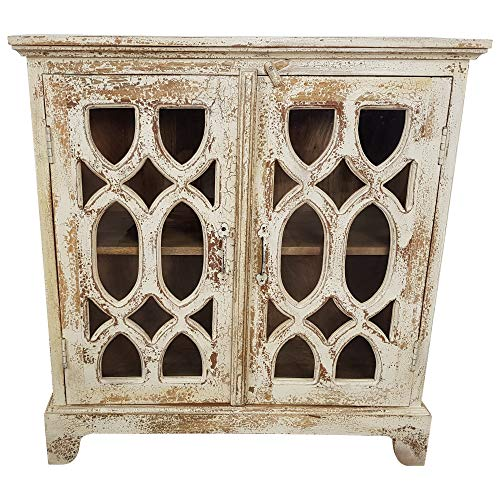 Indoortrend.com Commode en Bois Massif Style Shabby Chic Blanc