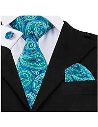 822394d2e014 DiBanGu Men's Necktie Handkerchief Silk Paisley Floral Tie Pocket Square  Cufflink Set