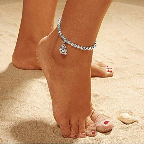TAOtTAO Doppelkette Bell and Bear Fußkettchen Schmuck Strand Abschnitt Fußkettchen Perlen Boho Fuß