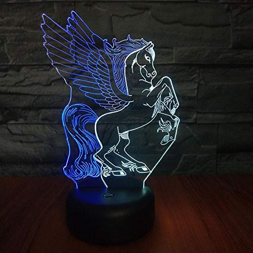 Nordischen Stil Pegasus 3D Nachtlicht Bunten Farbverlauf Gemischte Farbe Zweifarbige Konsole Licht Schrank Licht Schlafzimmer Dekoration Touch-Schalter -