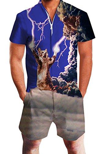 chicolife Herren Strampler Overall Herren Zip up 3D Cooles Cartoon Grafik Designer Onesie Jumpsuit Strampelanzüge Strampler Overall Anzug mit Kurze ärmel Overalls Kurze Hose Rompers S-XL (Niedliche Strampler Xl)