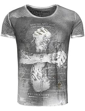 Key Largo Herren T-Shirt DOUBT Vintage Look mit Nieten Tattoo Arm Kreuz Stern Verwaschen