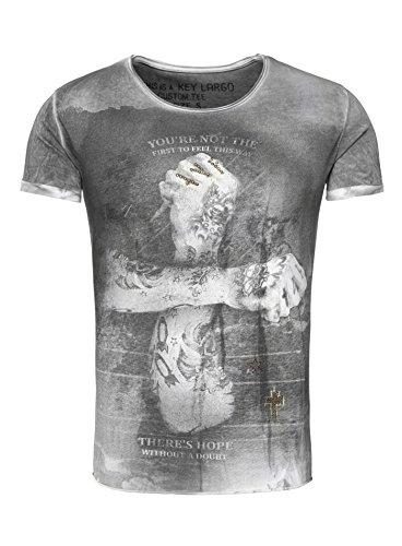 Key Largo Herren T-Shirt DOUBT Vintage Look mit Nieten Tattoo Arm Kreuz Stern Verwaschen anthrazit L (Design Tattoo T-shirt)