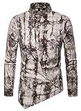 WHATLEES Herren Paisley Langarm Hemden - mit Stehkragen asymmetrischem Design und durchgehendem Print BA0068-khaki-XL