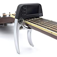 Guitar Tuner Clip,Loftstyle Chromatic Clip-on Tuner with Rotational Double Color Screen Light LCD Display Single-handed Guitar Capo Silver