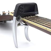 Profesional Guitarra Cejilla Sintonizador, Ying clip-on afinador cromático con rotación doble color protector de luz pantalla LCD con una sola mano Guitarra Cejilla plateado