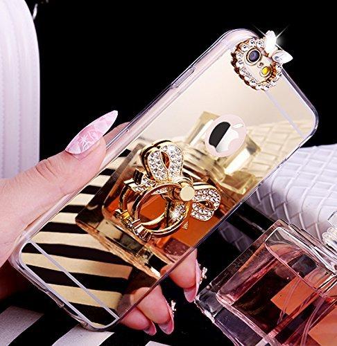 iPhone 7/8 Plus Coque, iPhone 7/8 Plus TPU Coque,iPhone 7/8 Plus Double Faces Corps entier Silicone Housse,ETSUE Coque Silicone Gel Créativité Transparent 360 Degré Avant et arrière Ultra-mince Full C Papillon Or
