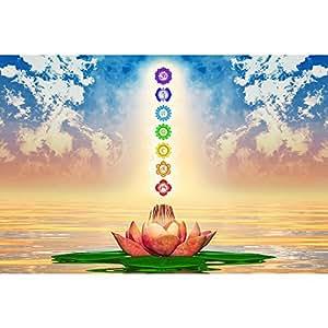 PB Sacred Lotus & Chakras Peel & Stick Vinyl Wall Sticker Decal 36 x 24inch