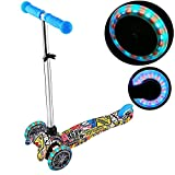 Creine Kinder Scooter LED Roller Kinderroller Big Wheel Aluminium Cityroller Graffiti-Stil Balance Bike Verstellbar Faltbar (Blau)