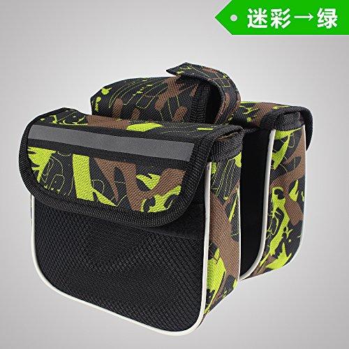 FAN4ZAME Fahrrad Tasche Tasche Tasche Vor Berg Rohr Sattel Tasche Tasche Tasche Beam Mobiltelefon Vorne Fahrrad Zubehör Und Ausrüstung Camouflage green