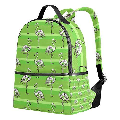 Ahomy Rucksack für Mädchen weiß Flamingo Skizze grün gestreift Rucksack Schule Buch Taschen Casual Daypacks für Reisen und Sport