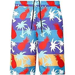 Bradlwy Hombre Bañador beachs Bañador Verano Pantalones Transpirable Corto Pantalones Deportes Pantalones Pantalones de natación para Hombres Tropicales Multicolor Piña, Small