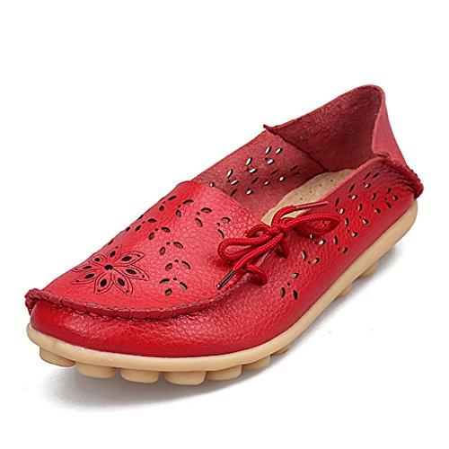 YY-Rui Damen Mokassin Slipper Slip-On Leder Bequem Schuhe Halbschuhe Freizeit Loafer Damenschuhe Sommer Fahren Rot