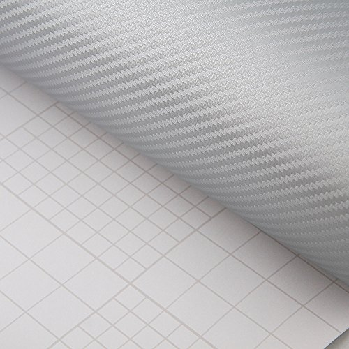 PEATOP Carbon Fibre Vinyl Wrap 3D Bubble Free Sheet Roll Film Silver 60 x 12 // 5FT x 1FT